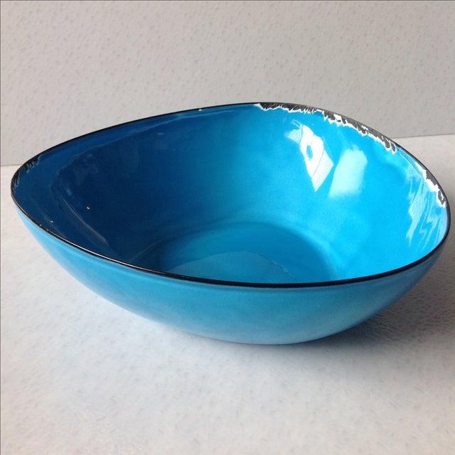 Mid-Century Modern Blue Enamel Metal Bowl - Image 4 of 11