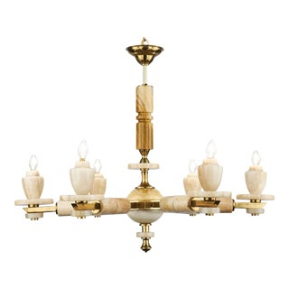 Italian Six-Arm Onyx Brass Chandelier For Sale