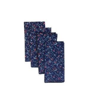 Floral Print Blue Dinner Napkins - Set of 4 For Sale
