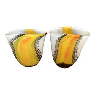 Exquisite Pair of Murano Glass Vases For Sale