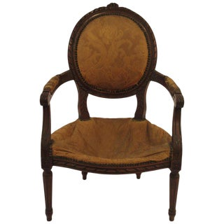 1920s Carved Wood French Armchair For Sale