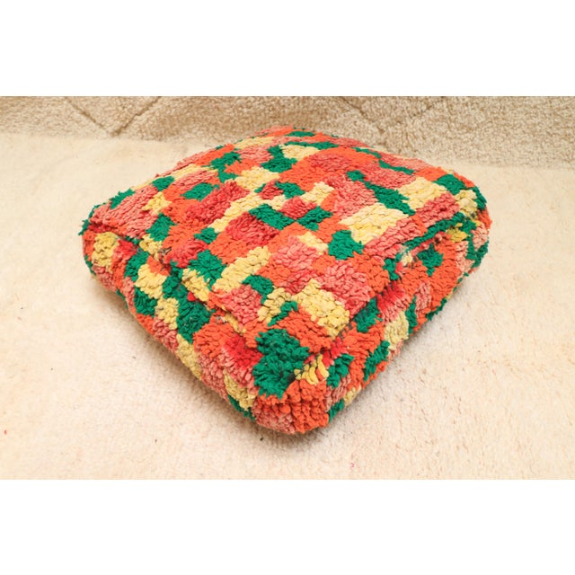 Moroccan Colorful Unstuffed Pouf Cover For Sale - Image 11 of 11