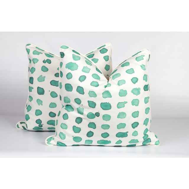 2010s Mint Linen Guinea Pillows, a Pair For Sale - Image 5 of 5