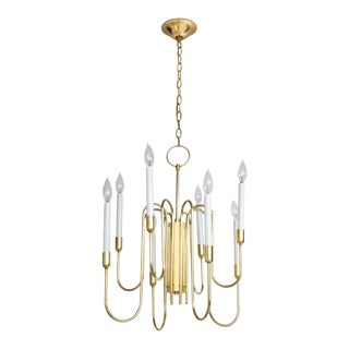 1960s Tommi Parzinger Style Brass Chandelier by Lightolier For Sale