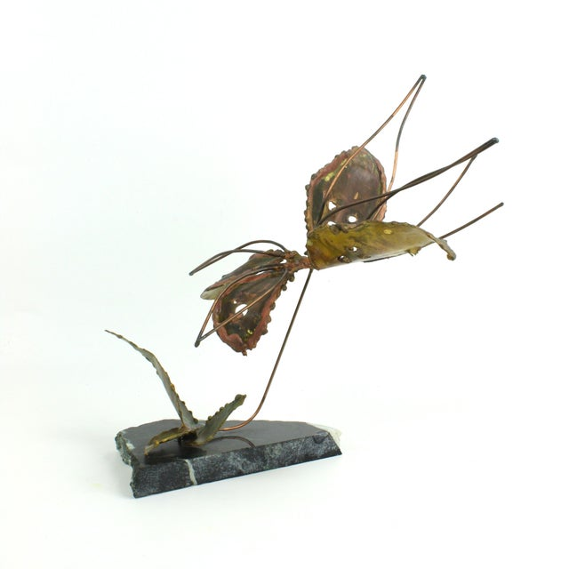 Copper Kinetic Butterfly Sculpture - Image 5 of 6