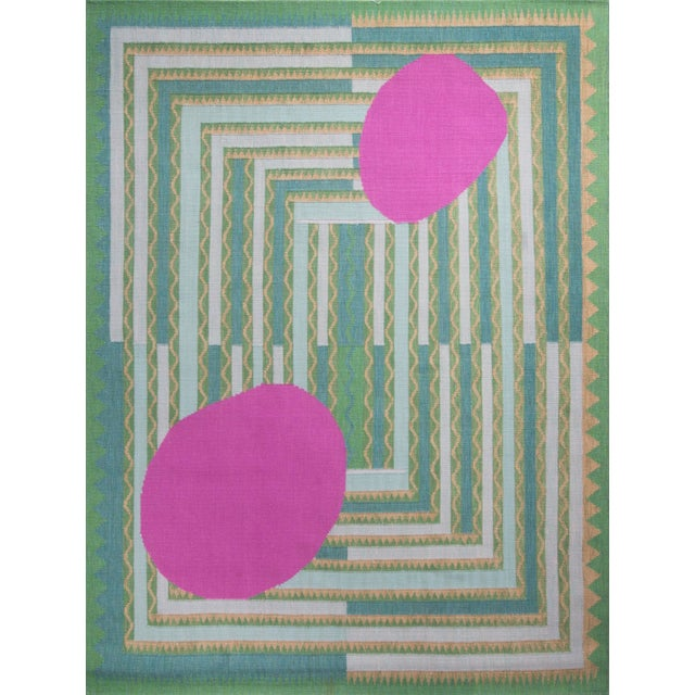 Mid-Century Modern Scandinavian Green and Pink Flat Weave Wool Rug - 7′10″ × 10′4″ For Sale - Image 3 of 3