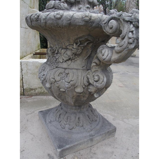 Pair of Cast Renaissance Style Lidded Outdoor Vases From France For Sale - Image 4 of 12