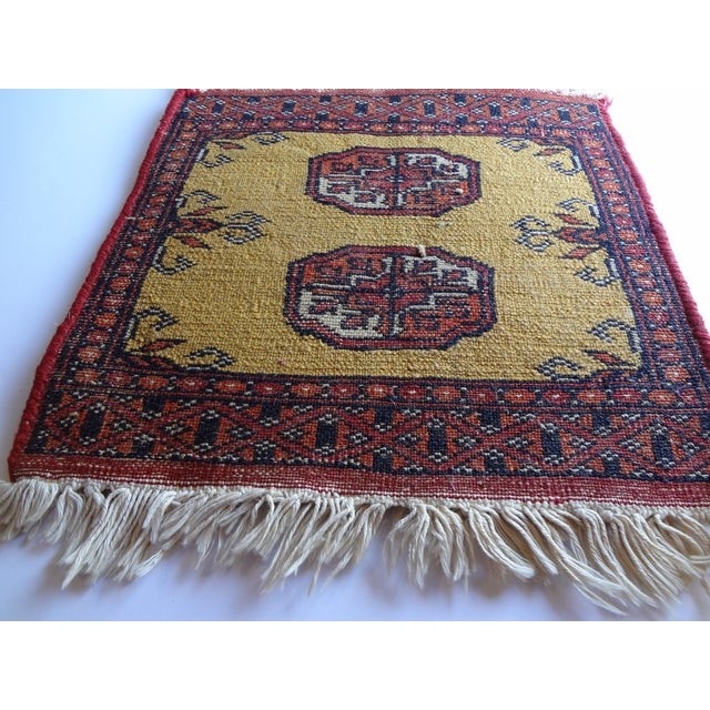 Boho Chic Miniature Hand Knotted Wool Prayer Rug For Sale - Image 3 of 6