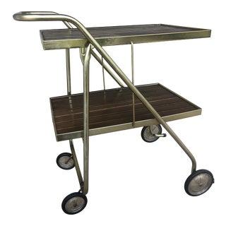 1960s Mid-Century Folding Coffee Tea Beverage Cart on Wheels For Sale