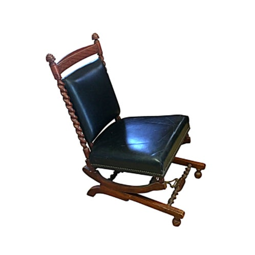1880s Sliding Rocking Chair, Leather & Wood Victorian Furniture - Image 1 of 5