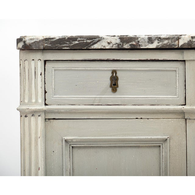 Painted Louis XVI Style Buffet With Marble Top For Sale - Image 4 of 11