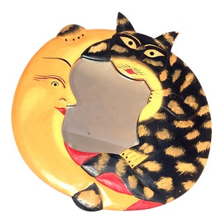 Carved Cat & Moon Wall Mirror