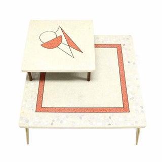 Geometric Design Tapered Legs Travertine Two Tier Corner Table