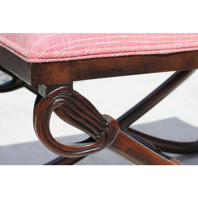 Carved Wood Sword Leg Bench With Pink Upholstery For Sale - Image 4 of 7