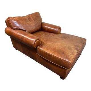 Custom Distressed Leather Chaise For Sale