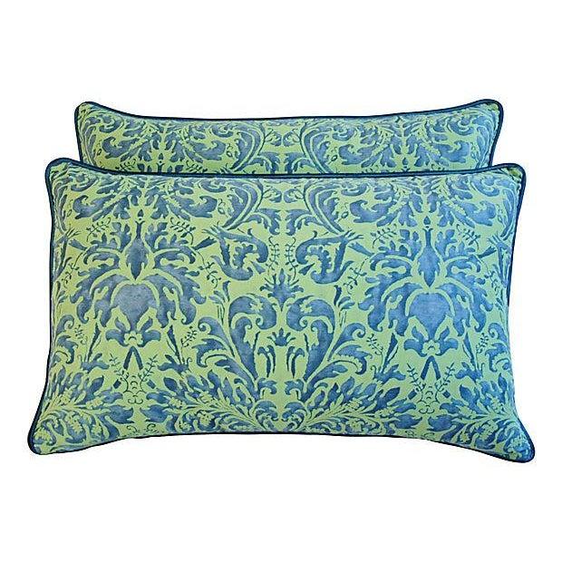 Fortuny Sevres Silk & Velvet Pillows - A Pair - Image 7 of 7