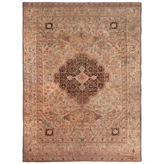 Antique Kerman Lavar Red and Pink Wool Rug with All-Over Floral and Bird Pattern For Sale