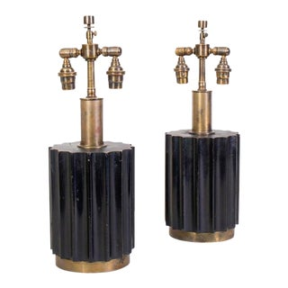 Rare Pair of Brazilian Modernist Lamps in Wood and Bronze For Sale