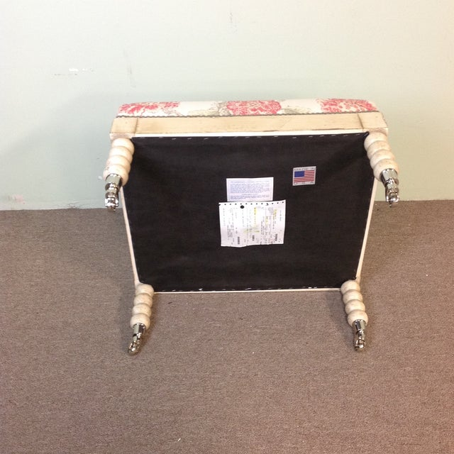 Contemporary Lillian August Tufted Upholstered Floral Ottoman For Sale - Image 3 of 7
