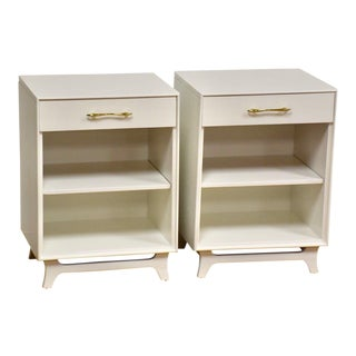 White and Brass Rway Nightstands- a Pair For Sale