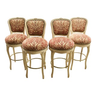 French Provincial-Style Bar Stools, S/4 For Sale