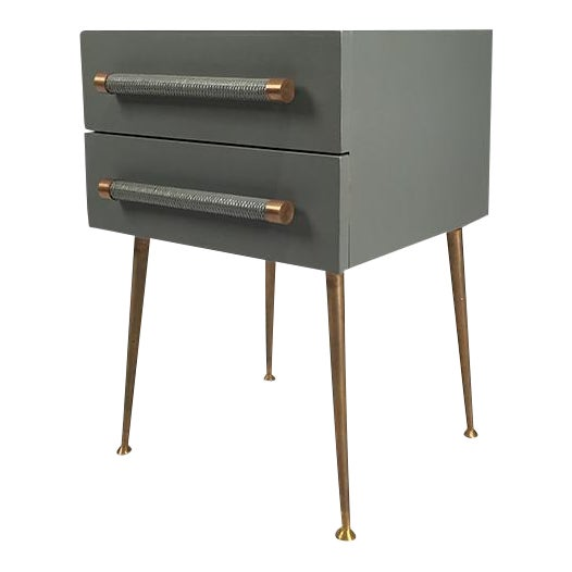 2-Drawer Nightstand with Wicker Pull - Image 1 of 5