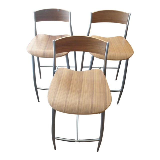 Design Within Reach Baba Counter Stools Wood W Metal Frame Set