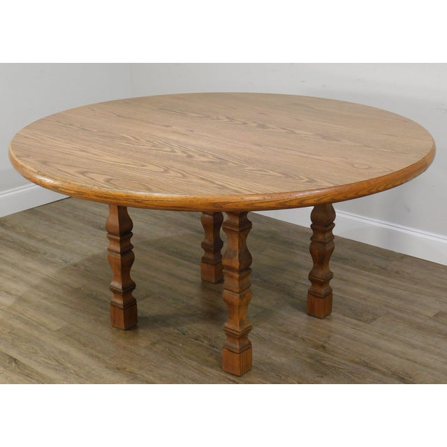 Romweber Viking Oak Round Dining Table For Sale - Image 12 of 13