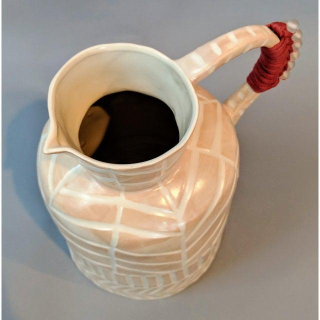 Orange Boho Chic Stoneware Vase and Pitcher For Sale - Image 8 of 9
