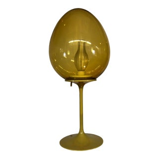 "Stemlite Glass and Metal ""Egg"" Tulip Table Lamp by Bill Curry for Design Line Inc For Sale"
