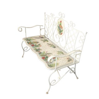 Vintage French Country White Wrought Iron Tiled Bench W Parrots Two Seater For Sale