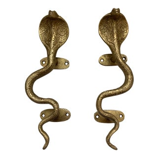 Hollywood Regency Gold Brass Cobra Door Handles Cabinet Pulls - a Pair For Sale