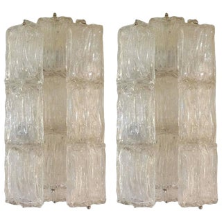 1960s Mid-Century Modern Murano Glass Sconces - a Pair For Sale