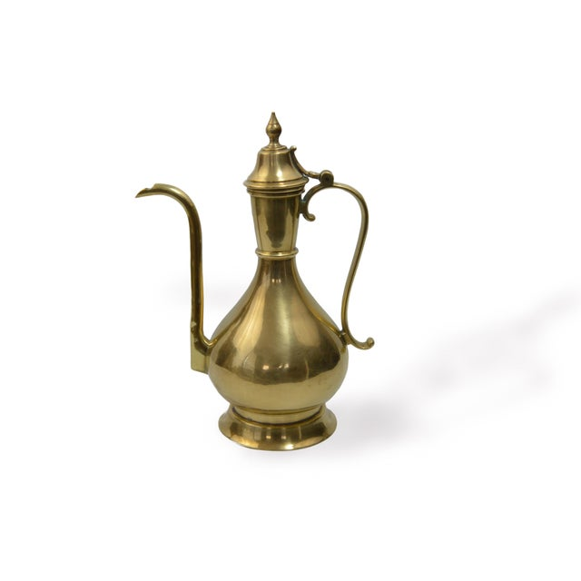 """This gorgeous, brass Turkish coffee pot is in very good, vintage condition, showing very little overall wear. 6 1/2""""..."""