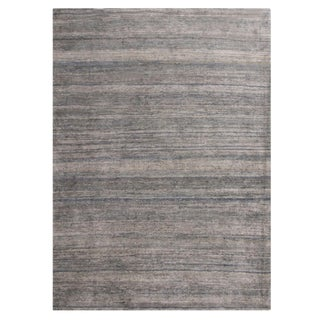 Rug & Kilim's Contemporary Metallic Silver and Blue Silk Texture of Color Rug- 9′ × 11′9″ For Sale