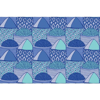 Spice Market Palace Blue Linen Cotton Fabric, 6 Yards For Sale