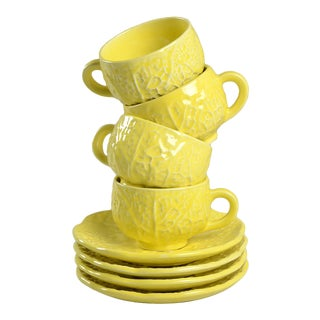 Secla Cabbage Yellow Flat Cup & Saucer - Set of 4 For Sale