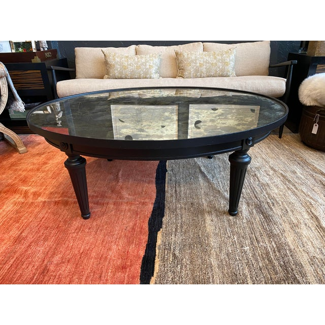 Hollywood Regency Black Coffee Table With an Antique Mirror Top For Sale - Image 9 of 9
