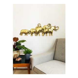 Large Vintage Gold Tone Syroco Elephant Herd Wall Hanging For Sale
