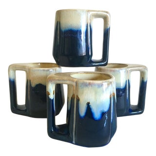 Vintage Mid Century Organic Modern Indigo Blue Drip Glaze Ceramic Handled Mugs - Set of 4 For Sale