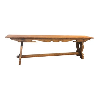 Antique English Oak Bench For Sale