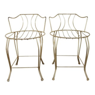 1960's Hollywood Regency Gold Vanity Stools- a Pair For Sale