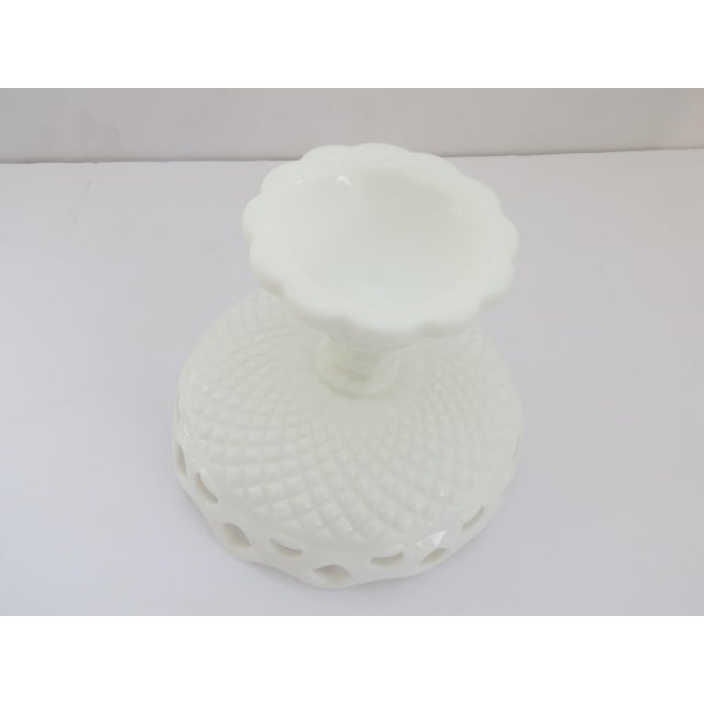 Farmhouse Milk Glass Compote Dish For Sale - Image 3 of 5