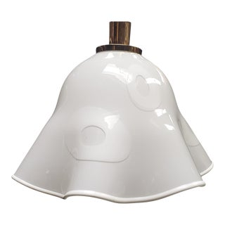 White Groovy Handkerchief Murano Pendant Light For Sale