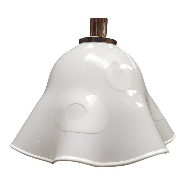 White Groovy Handkerchief Murano Pendant Light For Sale