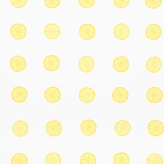 Sample - Schumacher X Vera Neumann Lemonade Wallpaper in Lemon For Sale