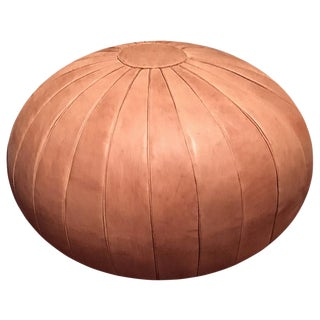 "Deco Pouf by Mpw Plaza, Brown (Stuffed) 17"" H X 28"" W Moroccan Leather Pouf Ottoman For Sale"