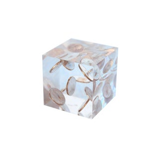 Lucite Cube Paperweight With 1969 Pennies For Sale