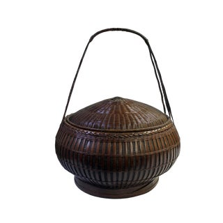 Oriental Handmade Brown Rattan Basket With Long Handle For Sale