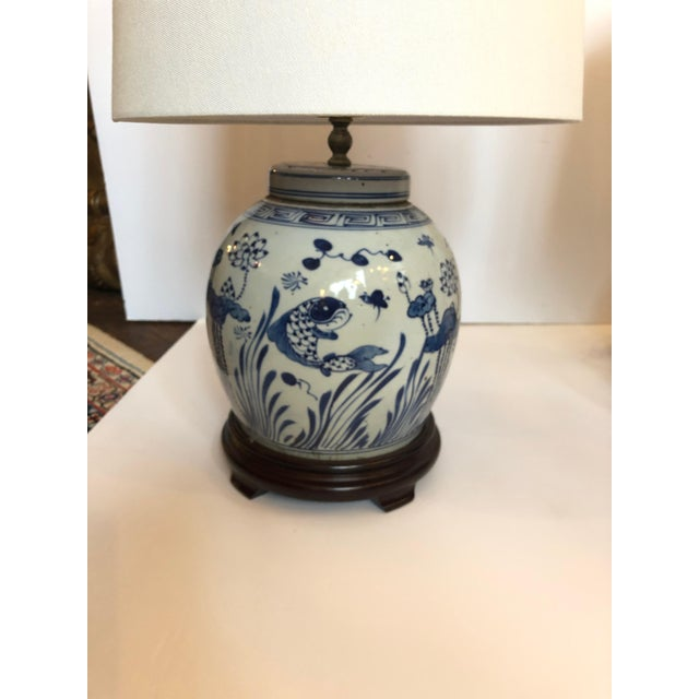 Asian Classic Blue and White Canton Style Ginger Jar Lamps With Carp-A Pair For Sale - Image 3 of 11